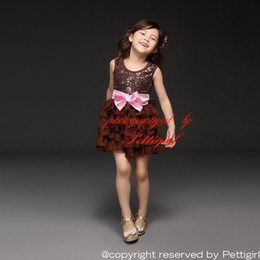 Wholesale Pettigirl Retail Newest Design Retail Girls Dresses Coffee Sequins Cake Dresses With Pink Bows Party Dress Summer Style Kids Wear GD50611