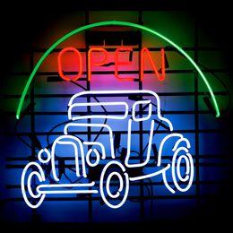 Wholesale OPEN CAR VINTAGE AUTO NEON SIGN HANDICRAFT REAL GLASS LIGHT TUBE GAMEROOM BEER BAR PUB x14 quot