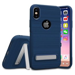 Soft TPU Hybrid Armor Brushed Shockproof Case Stand Holder Back Cover Kickstand For Apple iPhone X 8 7 Plus 6 Samsung Note 8 S8 S7 Logo Hole