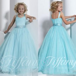 Wholesale Christmas Outfits Girls Pageants - DW 2016 Spaghetti Pageant Dresses for Girls Beading Crystal Sash Blue Kids Prom Dress Formal Ball Gown Little Girl Pageant Interview Outfits