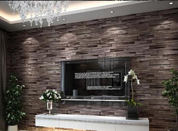 Wholesale Popular D Luxury Wood Blocks Effect Brown Stone Brick M Vinyl Wallpaper Roll Living Room Background Wall Decor Art Wall Paper