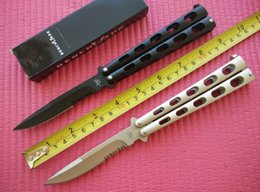 Wholesale 2 styles Benchmade S CN S balisong knife Cr13MoV steel Drop point Serrated T Latch Folding blade knife Pocket knife knives with box