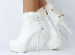 2018 new fashion boots white fur high heel round toe zip tassel platform winter women ankle martin boots women shoes