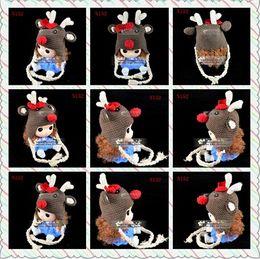 Free Shipping Christmas Reindeer Knitted Hat Newborn Headwear Infant Toddler Kids Cap Baby Boys Girls Winter Hat Children Beanie Cotton Yarn