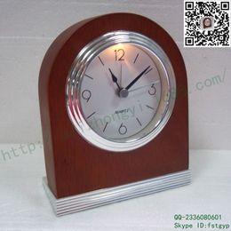 [ Outlets] muted light wood desk clock quartz downtown machine table clock brown matte rubber wood desk clock