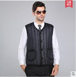 Fall-Winter dad middle-aged men's cotton vest velvet wool vest leather stitching middle-aged old man and woman cotton vest