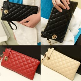Wholesale 5pcs Colors Fashion Womens Long Wallet Lingge Spiraea Hasp Zipper PU Leather Clutch Handbag Lady Coin Purse Pouch Holder