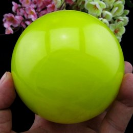 Wholesale 100MM Glow In The Dark Natural Yellow Iceland Spar Crystal Healing Ball Stand