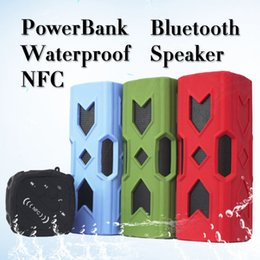 Wholesale 2015 New Bluetooth Outdoor Sports Waterproof Wireless Bluetooth Sport Portable Mini Speaker NFC Function mAh Power Bank DHL free shiping