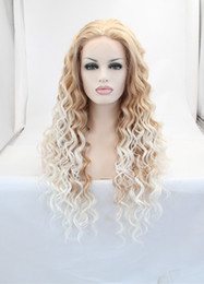 New arrival ombre curly wigs for black women synthetic lace front wig heat resistant fiber blonde hair