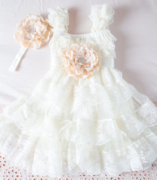 Ivory Lace Flower Girl Dress -Ivory Lace Baby Doll Dress Rustic Flower Girl -Vintage Wedding-Shabby Chic Flower Girl Dress
