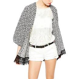 Wholesale S5Q Modern Women Casual Floral Print Tassels Fringe Kimono Blouse Cardigan Coats AAAETO