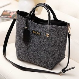 Wholesale-New Arrival Fashion Brand Design Messenger Bags Woolen and PU Women Bag PU Leather Handbag Shoulder Bag Leather Bag Women