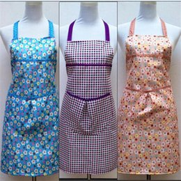 2016 Korean fashion cute grid print apron bow beautiful princess canvas apron, work apron housewife tools large pocket Aprons Home Textiles