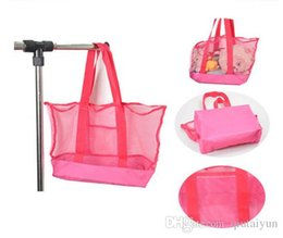 2015 Lowest price large sand away Mesh Beach Bag Children Beach Toys Clothes Towel Bags baby toy collection bag IN stock 100P B146