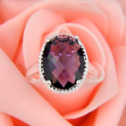 Wholesale Cheap Oval Fire Fuchsia Amethyst Gems Sterling Silver Flower Ring Mexico American Australia Weddings Jewelry Gift