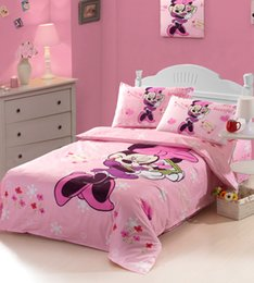 Wholesale New free ship girls minnie mouse kids bedding sets twin full size linen sheet duvet cover bedclothes home textile roupa de cama Z38