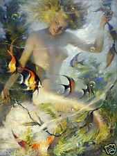 Wholesale HD Print Portrait Oil Painting Wall Decor Art on Canvas Beauty mermaid x16inch