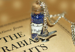 Wholesale 12pcs Arabian Nights Necklace Aladdin Mystical Power glass Bottle Necklace with Genie of the Lamp Charm necklace