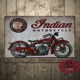 Wholesale Vintage Tin signs Indian motorcycle plaque art wall decor iron Paintings Bar shop Garage decor CM