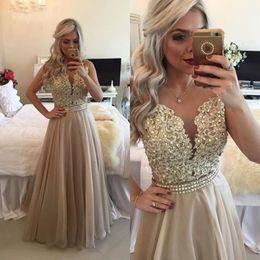 Elegant Pearls Appliqued Champagne Prom Dress Floor Length Chiffon Party Dresses 2016