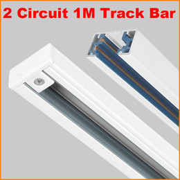 Wholesale DHL Free M Wire Circuit phase Aluminium Track Rail For LED Spotlight Lighting Track Systems Spot Light Rail ceiling Meter Black White
