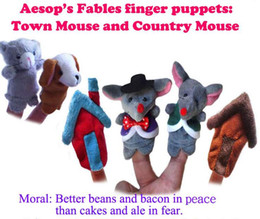 Soft Cloth Finger Puppets for Town Mouse And The Country Mouse Hand Puppet fingerpuppet Plush tosy Cat Mouse 6pcs pack