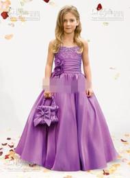Fashion Flower Girl Dress A Line Strapless Satin Taffeta with Beaded Sashes Floor Length Bridal Girls Dresses christmas dresses