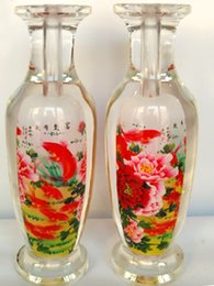 Wholesale 2016 New Chinese hand made crafts bottle built in peony flowers and fish artwork glass vase