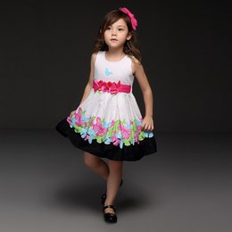 Wholesale Pettigirl Summer Style Girls Dress Flower Belt Brand Colorful Butterfly Printed Princess Dresses Pretty Kids Clothes Retail GD21008 B