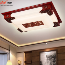 Wholesale Modern LED square red chinese style Cutout carved art of acrylic indoor lighting solid wood wooden lamp villa classical ceiling lamp balcony