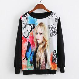 2015 New Loose Women O-neck Sweatshirt Kawaii Girl printing Butterfly Pullovers Long sleeve Women Sweatshirt