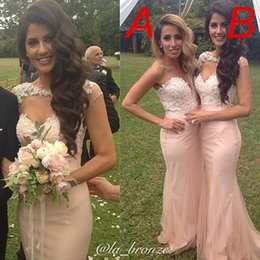 Wholesale 2015 Long Bridesmaid Best Design Sexy Mermaid Backless Prom Dress Capped Sleeve Lace Applique Pleats Custom Made Tulle Formal Gowns