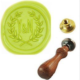 Wholesale Custom Two Letter Wreath Monogram Personalized Wedding Invitation Wax Seal Stamp