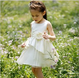 Flower Girls' Dresses 2015 new children dress kids bow dress princess dress tutu flower girl dress girls veil white organza princess dress