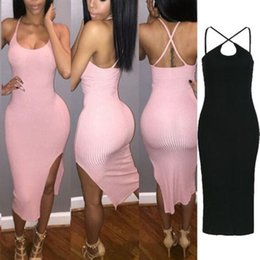 Wholesale Sexy Backless Summer Dress Fashion Women Night Club Party Dresses Sexy Sleeveless Bodyon Bandage Dress Black Vestidos