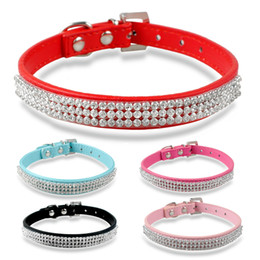 5 colors 7-10 inch Bling Diamante Pet Cat Collars Puppy Leather Dog Collars with Rhineston Buckles