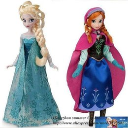 2PCS Lot Hot Sell Frozen Princess 11.5 Inch Frozen Doll Frozen Elsa and Frozen Anna Good Girl Gifts toy Doll Joint Moveable