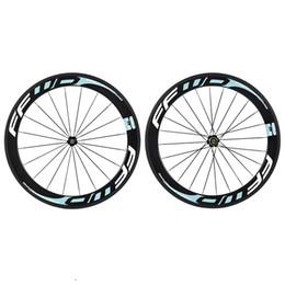 Compra Online Acabado mate-2015 la nueva bici delantera blanca azul blanca del camino de la pintura de FFWD de la llegada rueda el carbón mate / brillante de la bicicleta del final de 60m m 3k rueda el envío libre