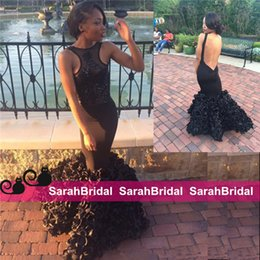 Black Mermaid Prom Dresses 2019 Shee Crew Neck Open Back Rosette Skirt Aso Ebi Style Evening Gown for Sale Cheap Sweet 16 Party Pageant Wear
