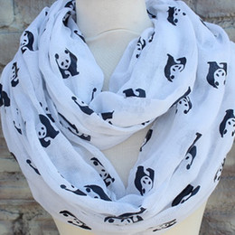 Animal print Scarf Women Scarves New Cute Panda Voile Scarf Infinity Scarves Circle scarves Ring Loop scarf