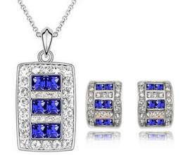 Cheap Earrings and Necklace Set for Women Austrian Crystal Bridal Jewelry Sets Square Design Trendy Fashion Jewelry 1029