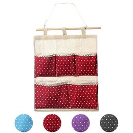 Wholesale Kimisohand New Arrival Storage Bag Pocket Wall Hanging Bag Multi layer Fabric Pastoral Style Hot Sale