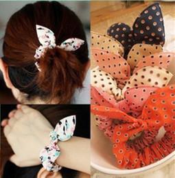 Cute Fashion Dot Rabbit Ear Pony tails holder hair band adult girls lovely design mix 50pcs  lot BA465