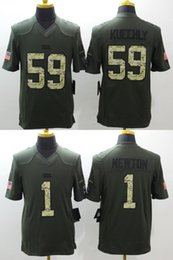 Wholesale Drop Ship Panthers Luke Kuechly Cam Newton Green Salute to Service Limited Mens Stitched Jerseys
