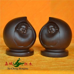 Wholesale Kerry Redwood City happiness and longevity peach African ebony wood carving of Buddha statues automobile ornaments Home Gift Collection