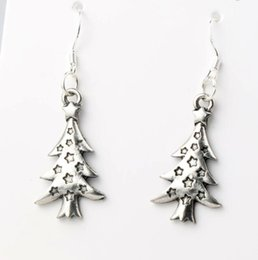 Wholesale 14 x44mm Antique Silver Star Light Christmas Tree Charm Pendant Earrings Silver Fish Ear Hook Dangle Chandelier Jewelry E748