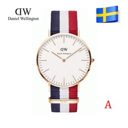 Wholesale 2015 hot sellingTop Brand Daniel Welington mm women Luxury style Gold and Silver dial case watches mm Nylon Strap montre femme de marque