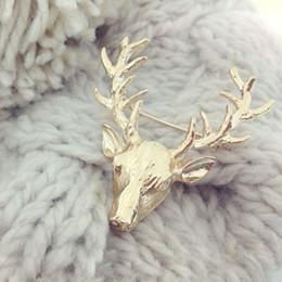 Wholesale x Christmas Gift Retro Art Deco Animal Stag Deer Head Black Jewelry Unisex Brooch Pin
