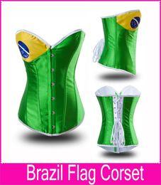 Wholesale-World Cup Brazil Flag Corset Steel Boned Bustier S-XXL Green color Brazil flag corset waist cincher bodysuit women shapewear